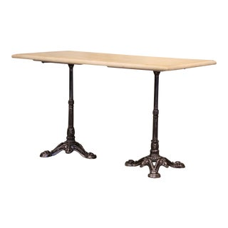 19th Century French Napoleon III Polished Iron and Limestone Bistrot Table For Sale