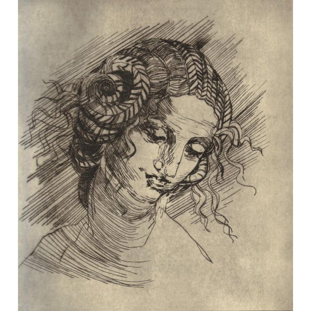This print from 2009 is a study of Leonardo da Vinci's drawing for his lost painting of Leda and the Swan. The technique...