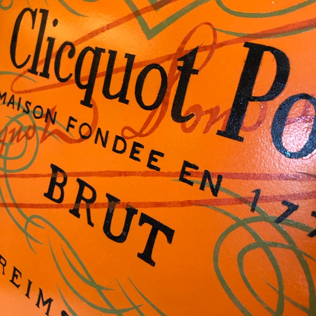 Metal Vintage Handmade Veuve Clicquot Champagne Label Ovular Tole Tray For Sale - Image 7 of 11
