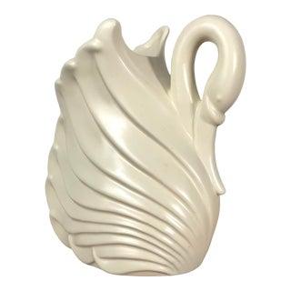 1940s Art Deco Haeger Cream Swan Vase For Sale