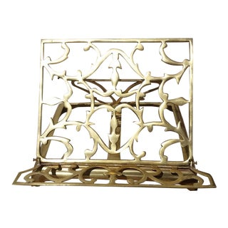 Vintage Brass Folding Book Holder For Sale