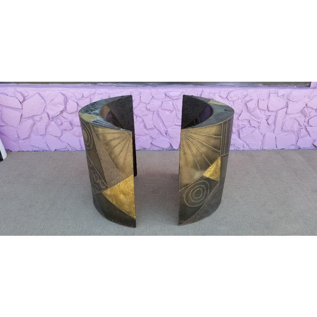 For your consideration is this exceptional Paul Evans sculptural studio brutalist curved dining table bases. These...