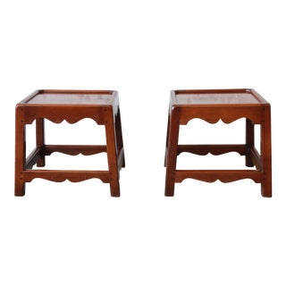 Pair of Vintage Solid Cherry Wood Side Tables or Stools by Kittinger