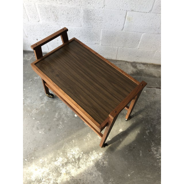 Brown Vintage Mid Century Modern Danish Style Rolling Media Cart For Sale - Image 8 of 13