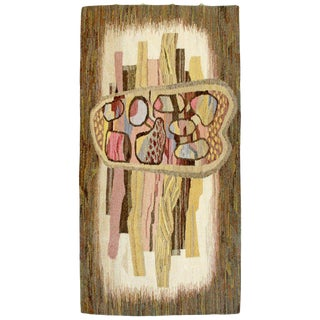 1970s Abstract Mid-Century Modern Fiber Wall Tapestry Signed Ghiba Larisa Geoda For Sale