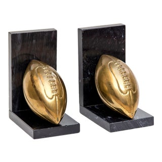 Brass & Marble Football Bookends, 1960s - a Pair For Sale