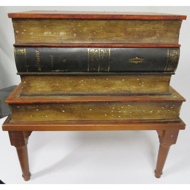 Mid 20th Century French Style Leather Book Stack Side Table For Sale - Image 5 of 7