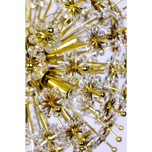 Gold Crystal & Brass Sparkling Sunburst Chandelier (2 Available) For Sale - Image 8 of 10