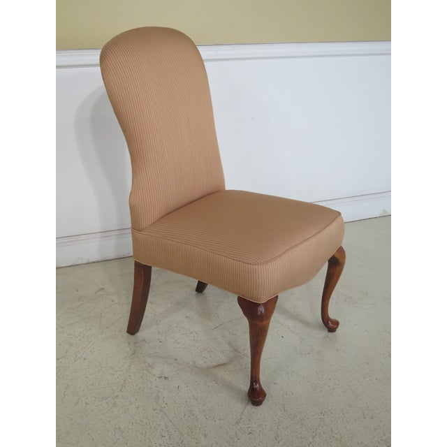 Traditional Jessica Charles Cherry Queen Anne Striped Upholstered Chairs - a Pair For Sale - Image 3 of 11