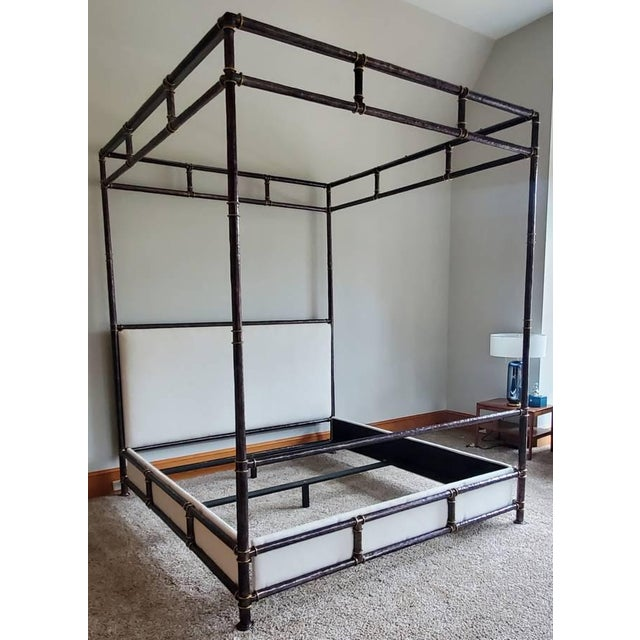 Henredon Furniture Jeffrey Bilhuber Hammered Metal Bank St Queen Canopy Bed For Sale - Image 13 of 13