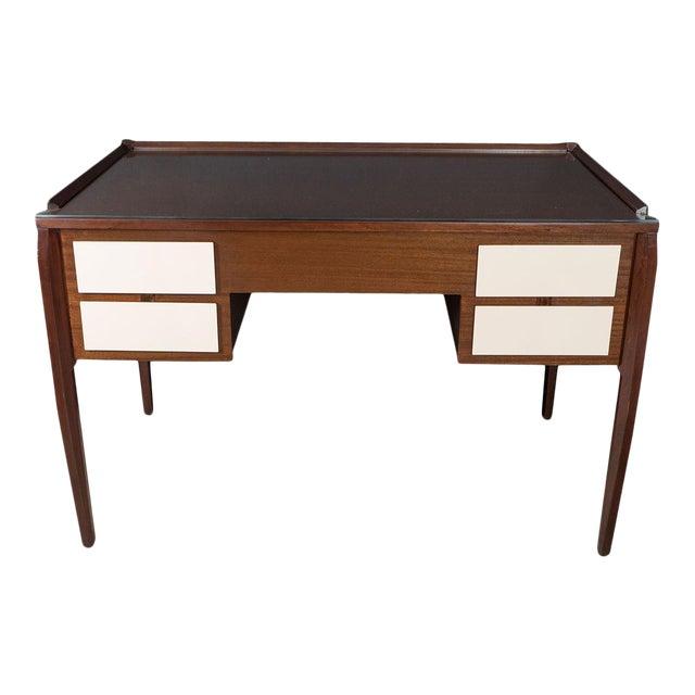 Vintage Four Drawer Lacquered Wood Panel Desk For Sale