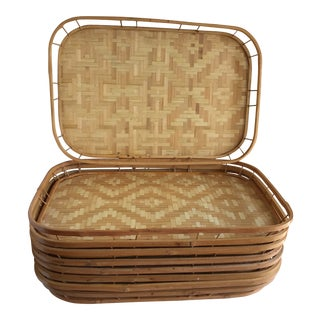 Vintage Wood Bamboo Trays, Set of Nine For Sale