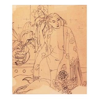 'Woman in a Kimono' by Victor Di Gesu; 1955, Paris, Louvre, Académie Chaumière, California Post-Impressionist, Lacma For Sale