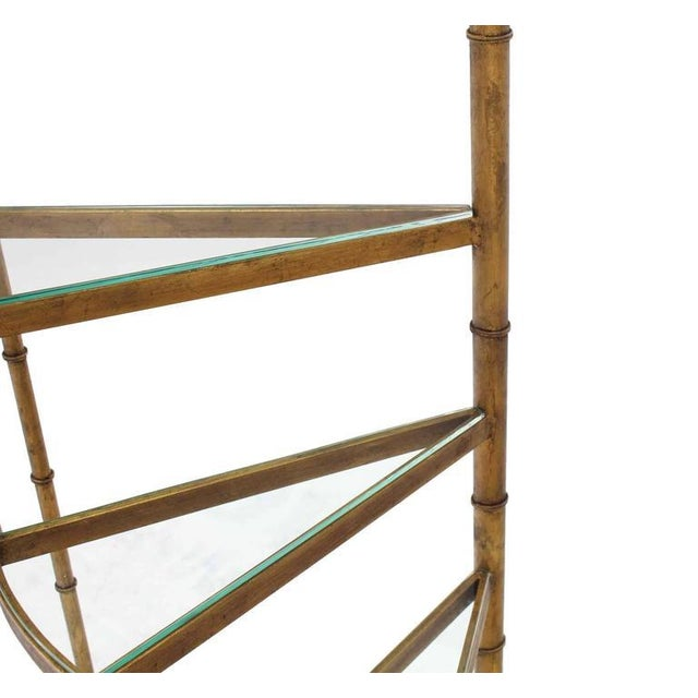 Early 20th Century Mid-Century Modern Step Shelves Faux Bamboo Gilt Base Floor Lamp For Sale - Image 5 of 10