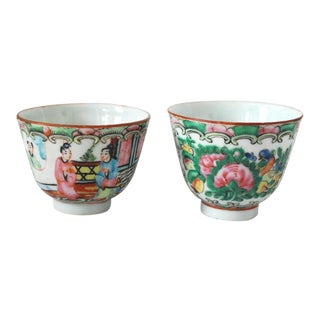 Early 20th Century Famille Rose Chinese Teacups - a Pair For Sale