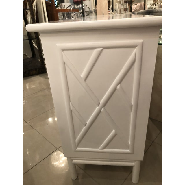 Lacquered White Chinese Chippendale Faux Bamboo Lucite Brass Credenza Buffet - Image 8 of 13
