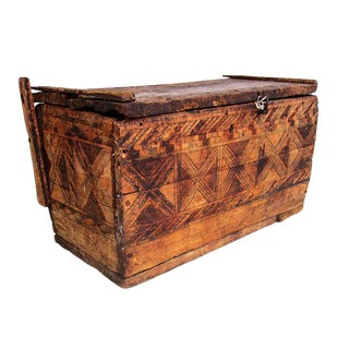 Vintage Rustic Solid Wood Moroccan Trunk Chest For Sale