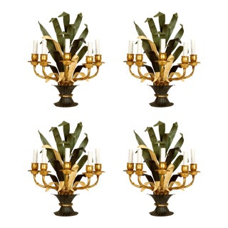 Set of Four French Tole Foliate Sconces For Sale