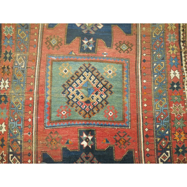 Green Antique Caucasian Rug, 4'6'' x 8' For Sale - Image 8 of 11