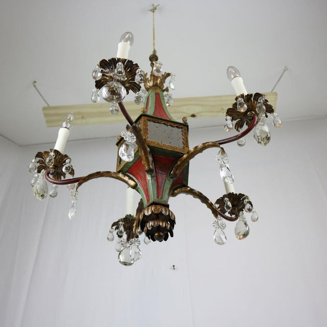 Italian Mirrored Tole & Crystal Chandelier - Image 8 of 11