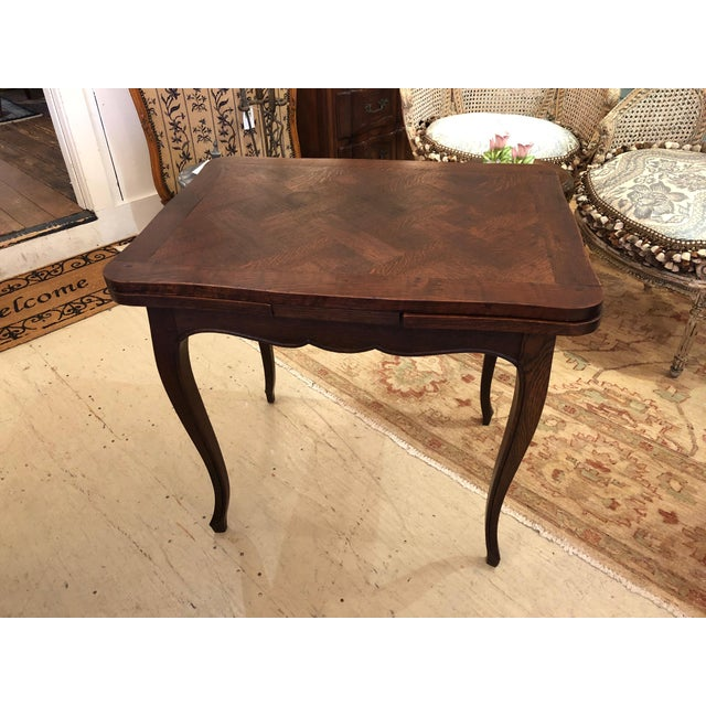 French Country Small Parquetry Walnut Refractory Table For Sale - Image 10 of 11