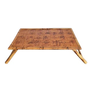 1960s Boho Chic/Asian Burnt Bamboo Bed Tray For Sale