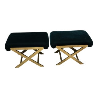 Hollywood Regency Mohair X-Benches - a Pair For Sale