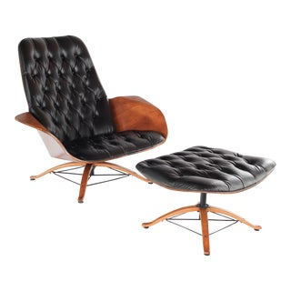 Mid Century Modern George Mulhauser for Plycraft Chair & Ottoman For Sale