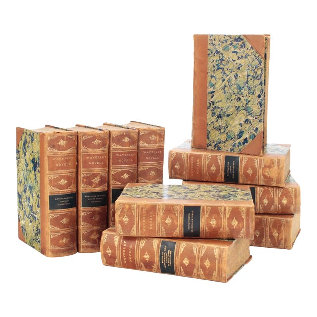 English Leather Bound Books, Scott Waverly Novels Circa 1880s, Set of 10 For Sale