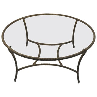 Faux Brass Coffee Table After Jansen For Sale