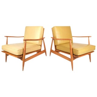 Mid-Century Modern Maple and Vinyl Lounge Chairs - a Pair For Sale