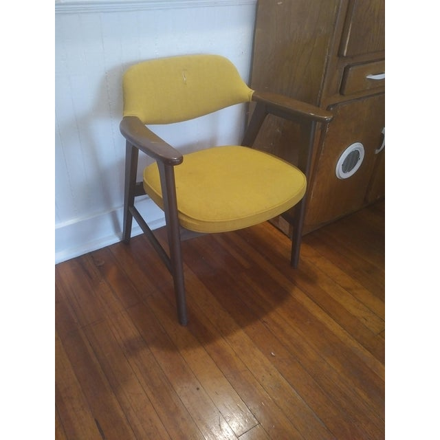 1960s Danish Modern Paoli Yellow Padded Chair For Sale - Image 11 of 11