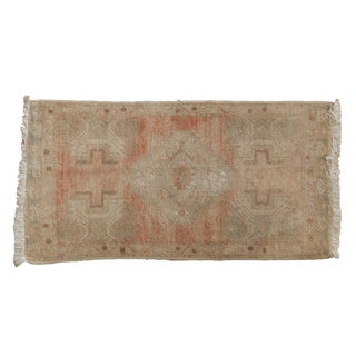 "Vintage Distressed Oushak Rug Mat Runner - 1'8"" X 3'3"" For Sale"