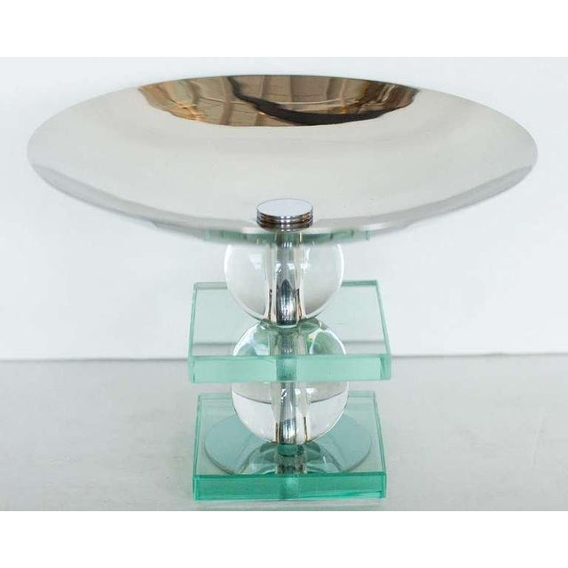 French Art Deco Crystal and Chrome Compote - Image 2 of 4