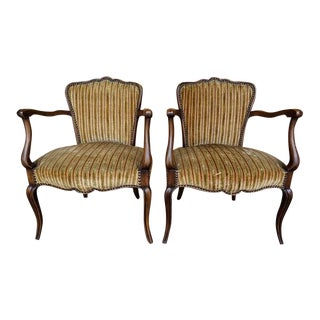 Antique French Provincial Louis XV Style Walnut Bergere Arm Chairs - a Pair