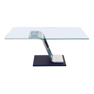Modern Italian Glass and Wooden Console Table For Sale