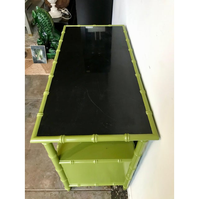 1950s Chinoiserie Avocado Green Faux Bamboo Cabinet/Bar Cabinet For Sale - Image 5 of 8