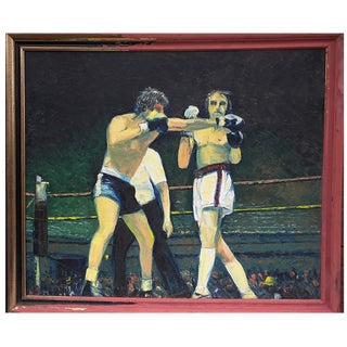 Boxers Night Out Acrylic Painting by Edward Hajdin For Sale