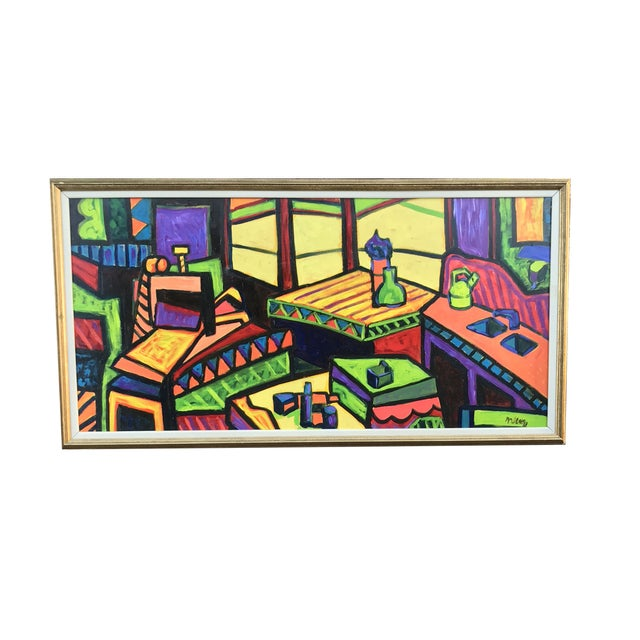 Vibrant & Colorful Abstract Painting For Sale - Image 4 of 4