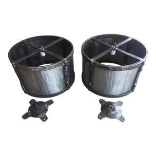 Large Steel Drum Lights - a Pair For Sale
