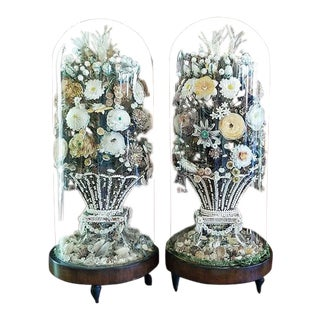 Pair of 19c Shell Art Floral Bouquets Under Glass Domes For Sale