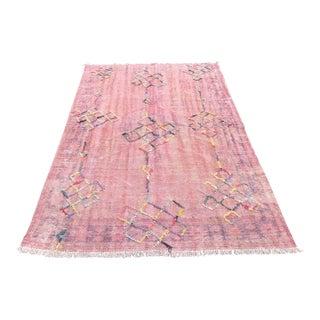 "Turkish Overdyed Floor Pink Rug - 5'1"" x 8'"
