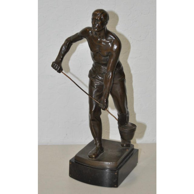 """Early 20th Century Bronze Sculpture """"Foundry Worker"""" by Gerhard Janensch C.1918 For Sale - Image 4 of 4"""