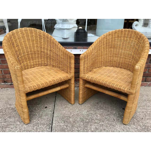 Moderne Rattan Barrel Chairs - a Pair For Sale - Image 11 of 11