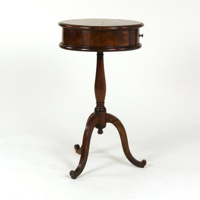 Late 19th Century 1890s English Round Fruitwood Tripod Bas & Single Drawer Pedestal Table For Sale - Image 5 of 11