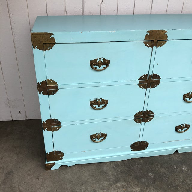 Antique Korean Dresser Campaign in Tiffany Blue For Sale - Image 4 of 12