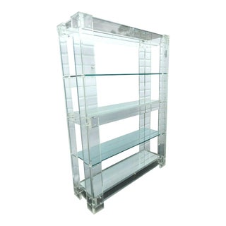 Hollywood Regency Mid Century Lucite and Glass Large Display Cabinet For Sale