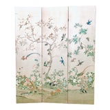 Image of Silver Leaf Chinoiserie Room Divider For Sale