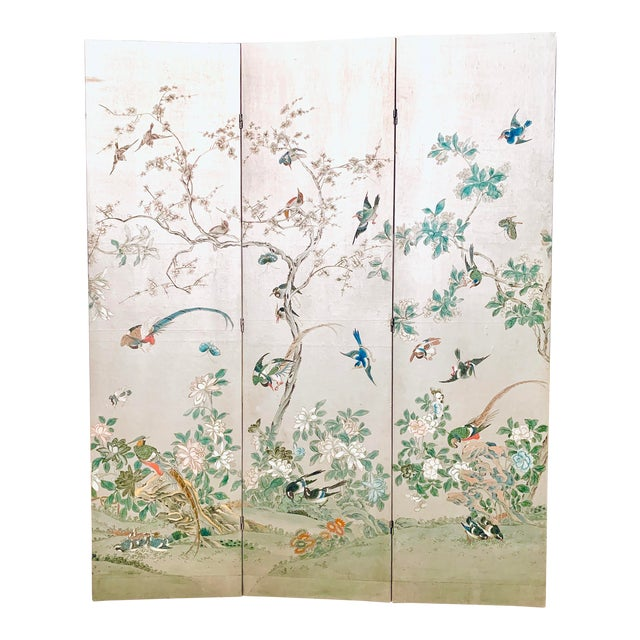 Silver Leaf Chinoiserie Room Divider For Sale