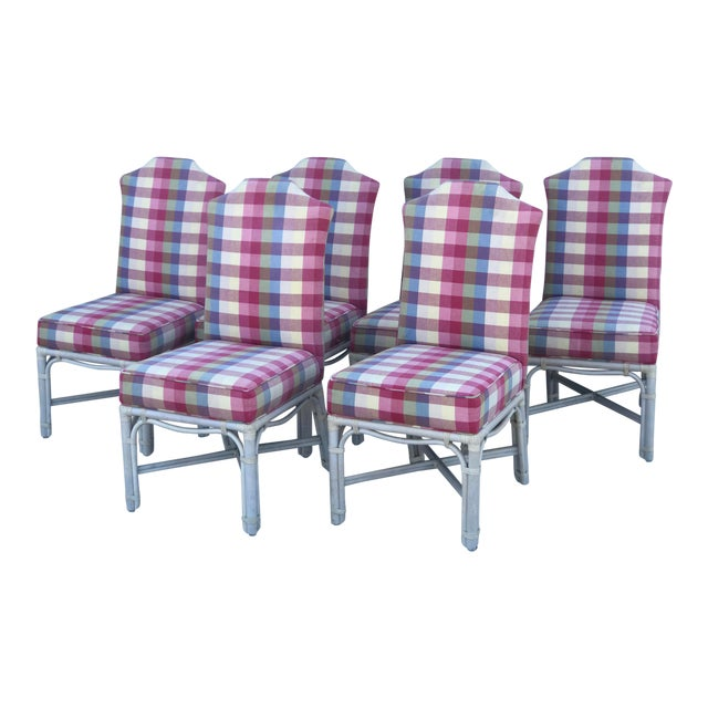 Ficks Reed Vintage Rattan Leather Wrapped Upholstered Dining Chairs - Set of 6 For Sale